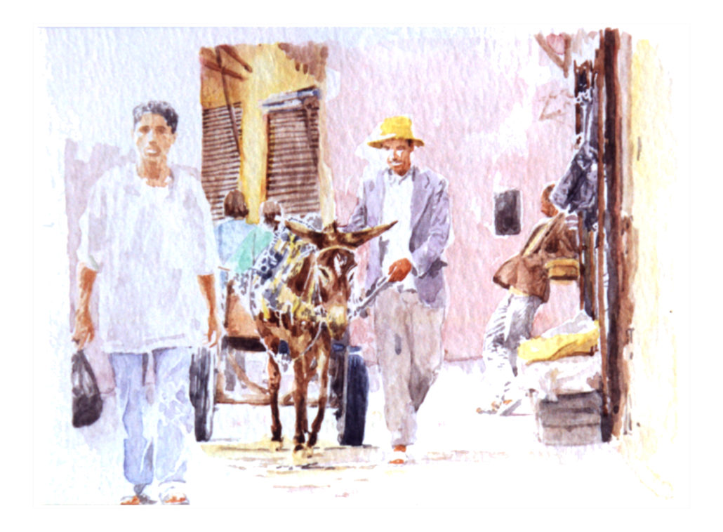 croisements, maroc, aquarelle joel Tenzin