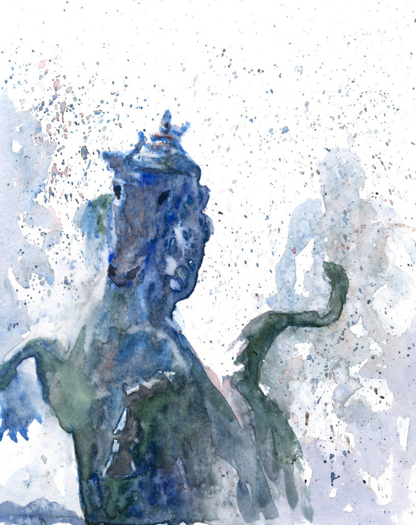 cheval quiconces, aquarelle de joel Tenzin, watercolor Joel Tenzin