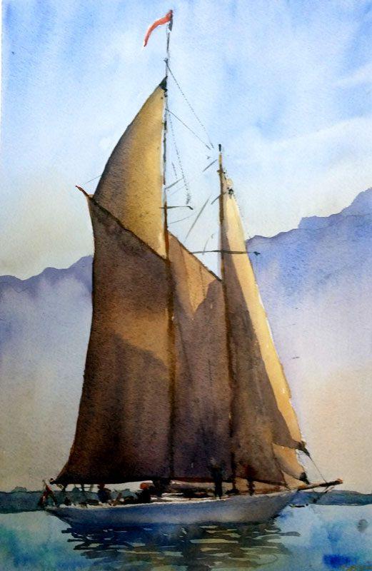 Demo aquarelle, voilier caboteur par joel Tenzin