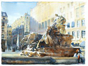 """Joel Tenzin, Aquarelle,"""" La rousse des Terreaux"""", 60x80cm"""